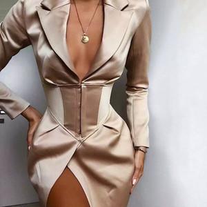 Глубокий V шеи Длинные Пиджаки и куртки Женщины отложным воротником с длинным рукавом Облицованные Кнопка Пиджаки Платья