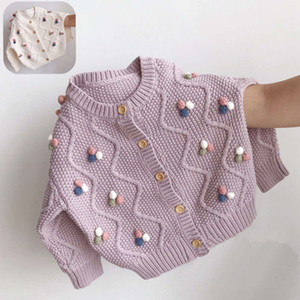 clothing autumn and winter 2020 new ball girls' sweater coat Korean pure color children's knitting cardigan