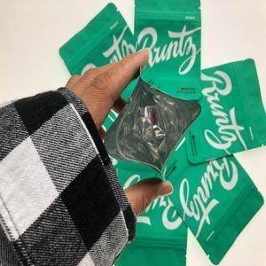RUNTZ GREEN MATT MYLAR BOLSA 3.5GRAM Bolsas a prueba de niños SF California 3.5G Mylar Bolsas Holograma Etiquetas engomadas y Etiqueta Atrás Jllm Ya