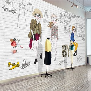 Custom Photo Wallpaper Hand Painted Cartoon Clothing Shop Poster Mural Background Wall Decoration Painting Non-woven