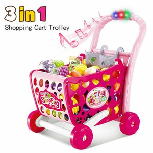 Kids Shopping Cart Pretend Play Food Kitchen Toys Trolley Supermarket Playset