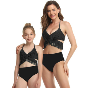 New wholesale Parent-child Swimwear Puff Sleeve Tassel Covering Belly Split Bikini Vest Style High Waist Mesh Adult Children's Swim wear