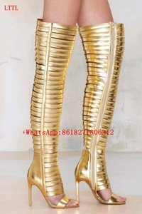 Chaussure Femme Metallic Golden Sandals Open Toe Gladiator Cut Out Boot Sandal High Heeled Thigh High Boots Summer Botas Mujer