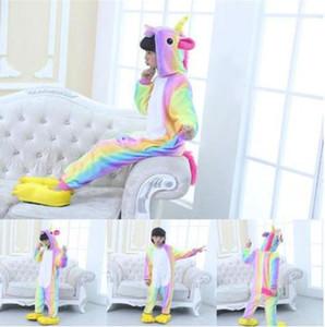 2020 Unicorn Pajamas Animal Onesie for Children Girls Boys Sleepwear Kids Cartoon Licorne Stitch Pyjama Suit Winter Overalls