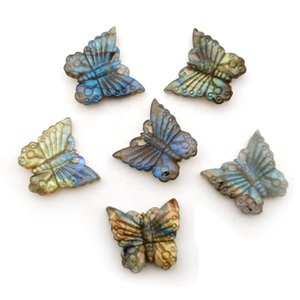 Natural Labradorite Lady Jewelry Butterfly Necklace Pendant Hand Carved Stone Animal Insect DIY Pendant Jewelry Accessories Crystal Agate He