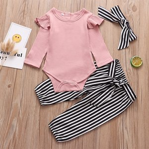 Newborn Baby Girls Clothing Fall Fashion Pink Outfit Romper Tops Pants Headband 3Pcs Set Infant Clothes 3 6 9 18 24 Months 201112