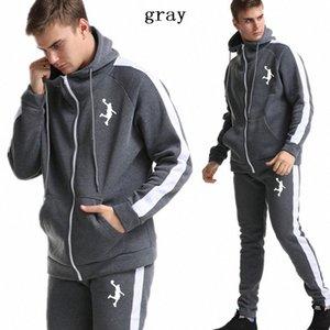 бренд YUANHUIJIA 2019 новых спортивная одежда мужская куртка молния балахон костюм мужской спортивный зал спортивной костюм EFxA #