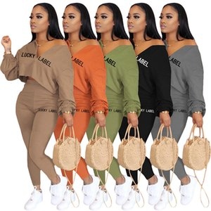 Automne Winter Femmes Femmes Tracksuits Mode Sweats à capuche Pantalons Lucky Label 2 pièces Ensembles Tenue Lifges Leggings Capris Running Casual Vêtements 4326