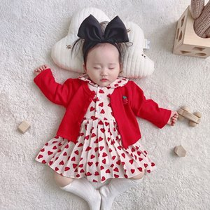 XZXY Wholesale Baby Girl Clothes Set Girls Love Heart Long Sleeve Romper Dress +Strawberry Cardigan 2pcs Outfits Kids Clothes