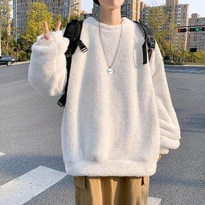 Männer Sweatshirt Herbst Winter plus Samt Verdicken Mantel doppelseitig Lamm Samt O Neck Pullover lose warmes lässig feste Oberteile