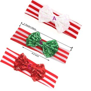 30 pcs  lot ' , big sequin messy headband bowknot , headband sequin bow for christmas holiday hair accessories 200924