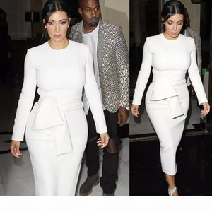 New Women Sexy Bodycon Bandage Dress Long Sleeved 2016 vestidos Autumn Kim Kardashian Pencil Dress White
