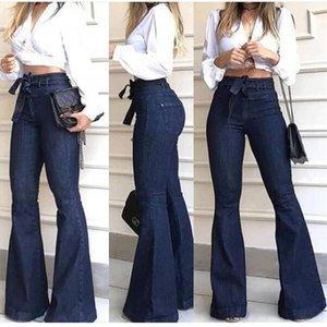 FnOce 2020 Automne Femme Jeans Street Fashion Casual Solide Taille Solide Dentelle Stretch Flare Pantalon Élégant Pantalon