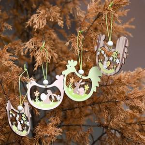 Пасхальное украшение подвесной деревянный кулон пасхальный кролик яичко ракушка кулон праздничные украшения мультфильм партия поставляет морские доставки FFB4385