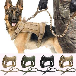 Tactical Hundegeschirr Weste Military K9 Arbeits Hunde-Bekleidung Geschirr-Leine Set Molle Hundeweste Für Medium Large Hunde Deutscher Schäferhund 1020