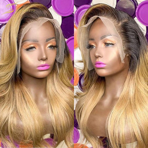 Ombre 13X4 Lace Front Human Hair Wig Preplucked 1B 27 Colored Wavy Natural Real Brazilian 4x4 Closure Wigs For Black Women Full