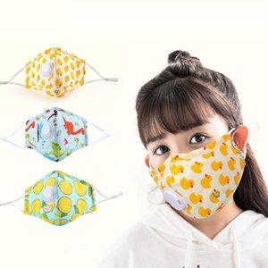 Máscara de los niños Máscara de la válvula de tela PM2.5 Dinosaurio Fa Banana Dibujos animados de dibujos animados Polvo protector a prueba de polvo con diseñador Kids Máscaras Algodón HH9-3115 SOE