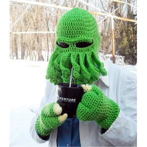 Novelty Handmade Funny Tentacle Octopus Hat Crochet Cthulhu Beard Beanie Men's Women's Knit Wind Mask Cap Halloween Animal Gift