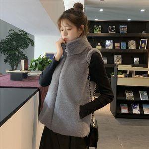 Women 2021 Autumn Winter Fake Fur Outerwear Femme Fashion Vest Jacket Lady Stand Collar Sleeve Imitation Gilet C283