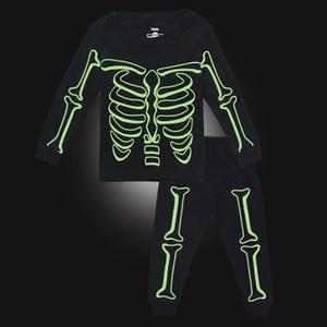 Hot Toddler Boy Pajamas Sets Sleepwear Luminous Skeleton Printed Cotton Long Sleeve for Kids Children Boy Pyjamas