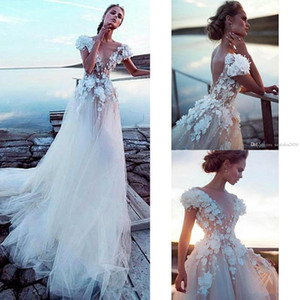 2021 Beach Wedding Dresses A Line V Neck Lace 3D Floral Appliques Bohemian Wedding Dress Cap Sleeve Sweep Train Boho Vestidos De Novia