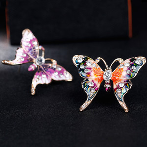 Painting Enamel butterfly brooch women crystal diamond butterfly corsage scarf buckle brooches fashion jewelry will and sandy gift
