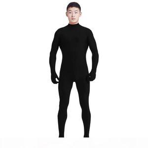 Ensnovo Men Lycra Spandex Suit Turtleneck Black Unitard One Piece Full Body Custom Skin Tight No Head Unisex Cosplay Costumes