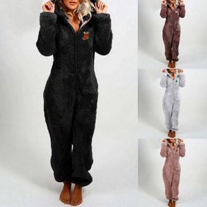 Christmas autumn and winter women's clothing plus velvet thick plush jumpsuit hooded pajamas Christmas clothes