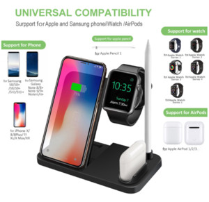 4 in 1 Wholesale Wireless Charge Station For Apple Monitor Pencil Qi Express Supports For iPhone 11 Pro XS Max XR 8 plus Charger