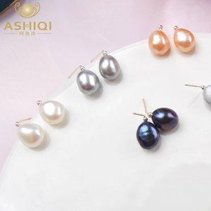 Ashiqi Multi Natural Pendientes de perlas de agua dulce 925 Sterling Silver Hecho a mano Joyería simple para las mujeres