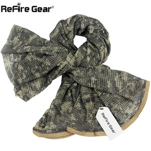 ReFire Gear Arab Military Tactical Mesh Scarf Men US Army Soldiers Combat Camouflage Scarves Conceal Camo Shawl Veil Scarf 190cm 201021