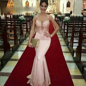 Sheer Tulle Mermaid Long Prom Dresses For Women 2021 Pink Applique Lace Formal Evening Dress Party Gala Dress Custom Made