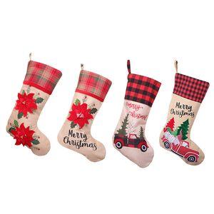 2020 Hot Sale Christmas Stocking Gift Bag Large Red Flower Christmas Bag Candy Bag Christmas Decoration Pendant