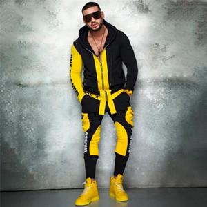 2 piezas para hombre gimnasio ropa casual chándal deportivo hombres conjuntos de hombres hip hop ropa hombre conjunto hombres cremallera jacker + lápiz pantalones streetwear