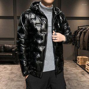 2020 Унисекс зимняя куртка мужская пуховик Канада глянцевая ткань с капюшоном с капюшоном расцветка с лигревом плюс бархат сгущающий теплый свет софт1