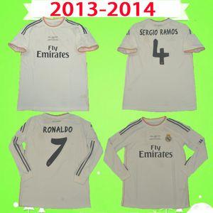 Длинные рукава 2013 2014 Real Madrid футбол для футбола полные 13 14 Роналдо ретро футбол футбол Винтаж ISCO Maillot Sergio Ramos Benzema CamiSeta