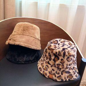Ins 20 Winter Hats for Women ,leopard Print Hats&caps ,Lovely Bucket Hat , Plush Fisherman's Hat, Warm Leopard Print