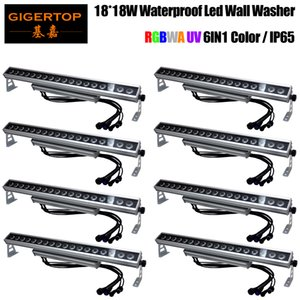 Freeshipping 8 Unit AC100V-220V Outdoor Waterproof IP65 18X18W Building Wall Led Washer Light RGBWAP 6in1 Color Adjustable Feet TIPTOP