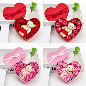 2020 Valentines Day 10 Flowers Soap Flower Gift Rose Box Bears Bouquet Wedding Decoration Gift Festival Heart-shaped Box