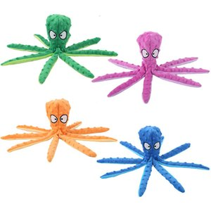 Octopus No Stuffing Crinkle Plush Dog Squeaky Durable Interactive Chew Toys for Small Medium Dogs Cat JK2012PH