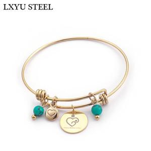 Brazalete Blue Beads Pulsera para mujeres 64mm Acero inoxidable Carta de corazón feliz Día de la madre Joyería del encanto