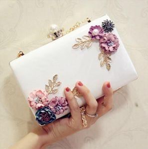 Fashion Designer Women Girl PU Leather Clutch Handbags Evening Bag Femme Flower Bag Shoulder Wedding Bags