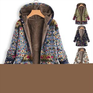 Womens Coat Winter Warm Outwear Floral Print Hooded Pockets Vintage Oversize Female Coats Womens Casual Outwear Plus Size