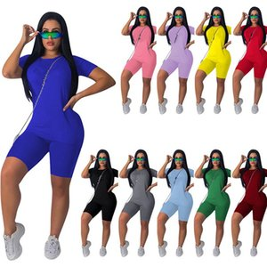 women brand designer tracksuit short sleeve outfits shirt pants 2 piece set sportswear cotton leggings sport set shirt trousers hot klw0561