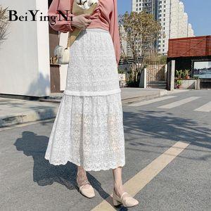 Beiyingni High Waist Skirt Women Elegant Solid Lace Hollow Out Elegant Vintage Fashion 2020 Falda Femme White Black Skirts Lady