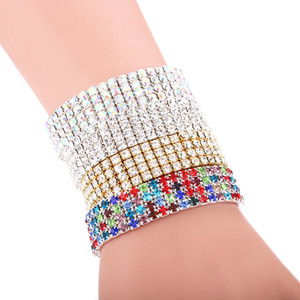 Full atmosphere crystal color 4-row Elastic Bracelet with diamond inlaid ladies' exquisite multicolor Wedding Dress Accessory