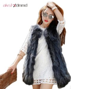 Natural Fur Vest New 2020 Winter Mid-long Thick Women Warm Fashion Fur Raccoon Vest Jacket Coats Shine Colors LH474