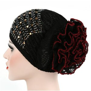 2020 New Women Floral Lace Turban Hat India Cap with Diamond Hairnet Muslims Chemo Cap Flower Bonnet Beanie for Women