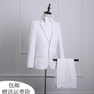 Big size 2020 new arrival black white korean slim men suit set with pants mens suits wedding groom formal dress suit + pant1