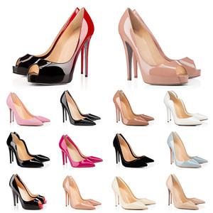 Top New Vermelho Bottoms Heaver Saltos de Patente PEEP PEEP Bombas para Mulheres Partido de Casamento Luxurys Designers Studded Spike Banquet Stylist Sapatos